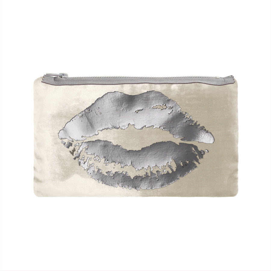 lips pouch - cream / gunmetail