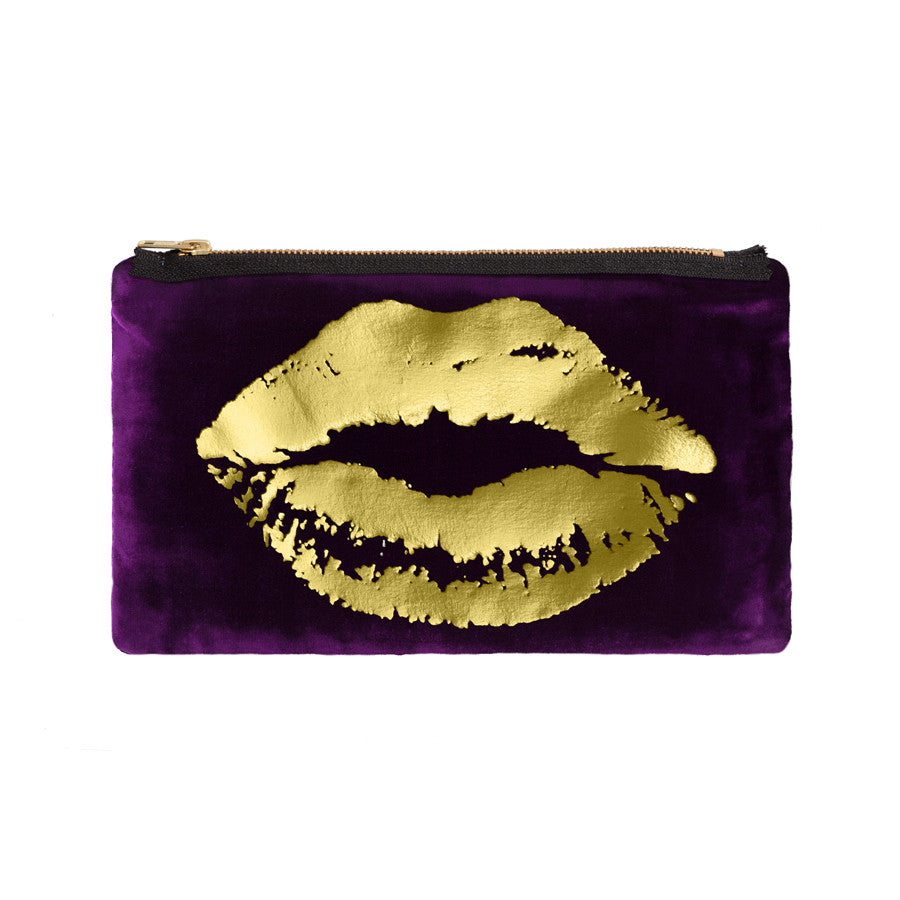 lips pouch - grape / gold foil