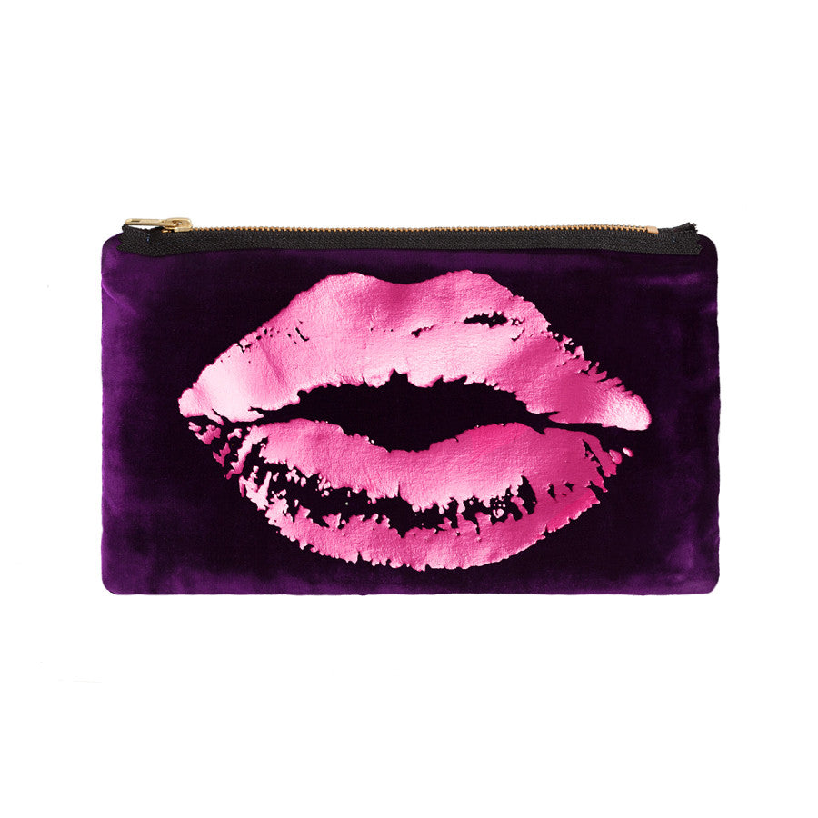 lips pouch - grape / hot pink foil