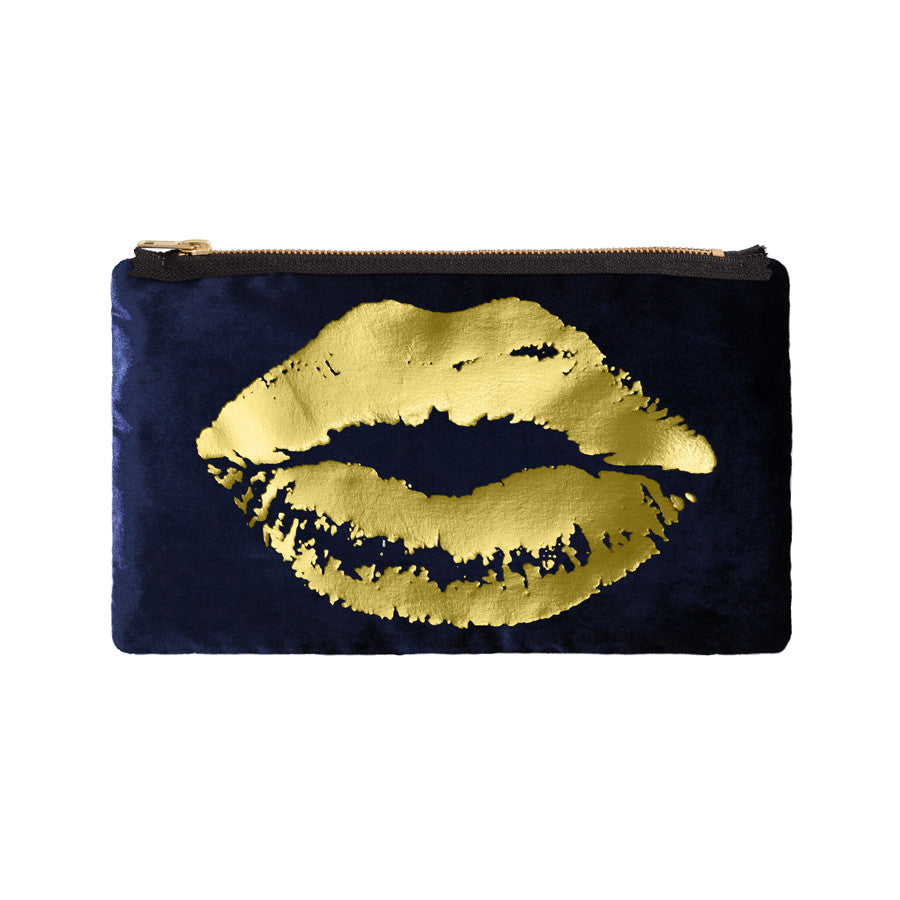 lips pouch - navy / gold foil