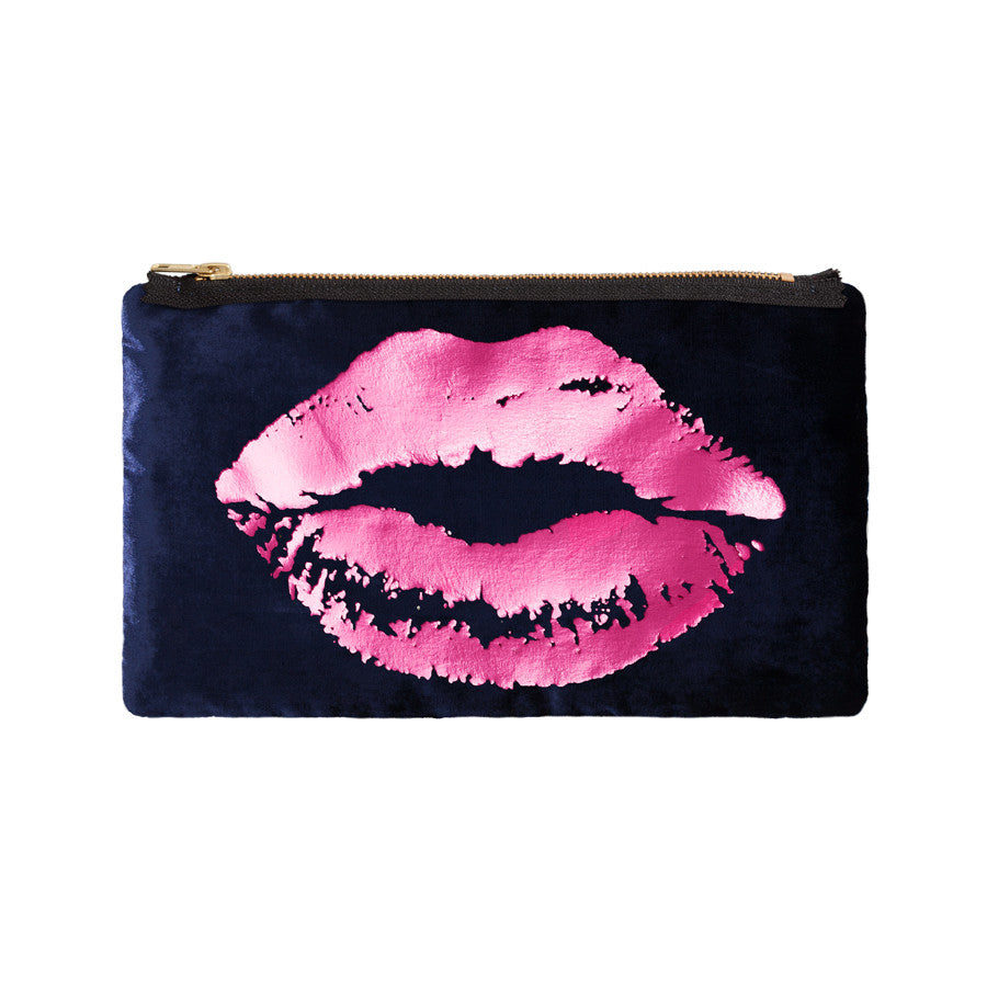 lips pouch - navy / hot pink foil