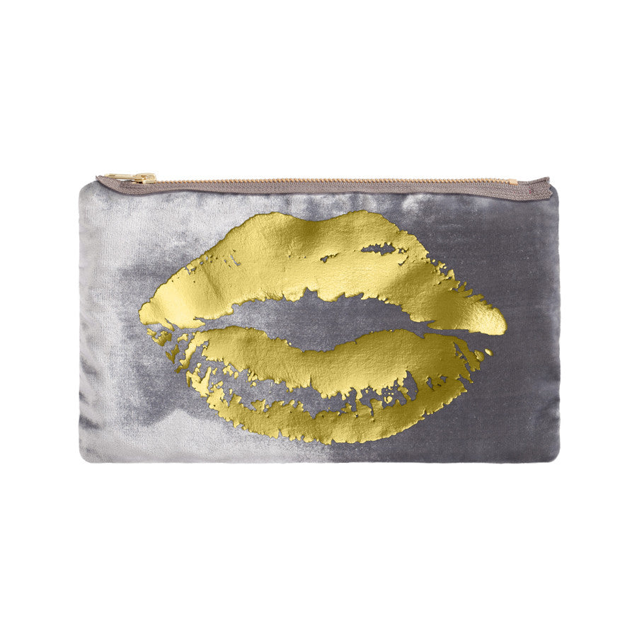 lips pouch - platinum / gold foil