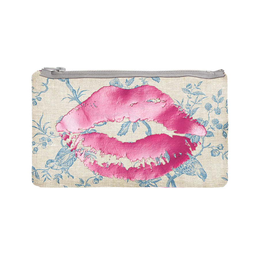 lips pouch - toile / hot pink foil