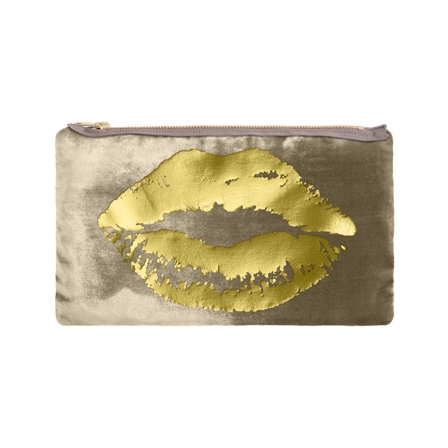 lips pouch - willow / gold foil