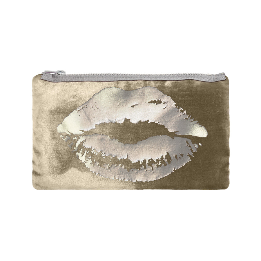 lips pouch - willow / gunmetal foil