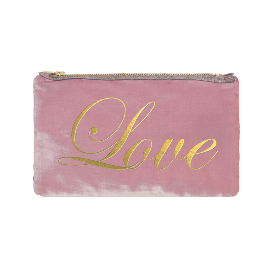 Love Script Pouch - antique pink / gold foil