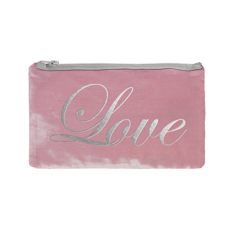 Love Script Pouch - antique pink / gunmetal foil