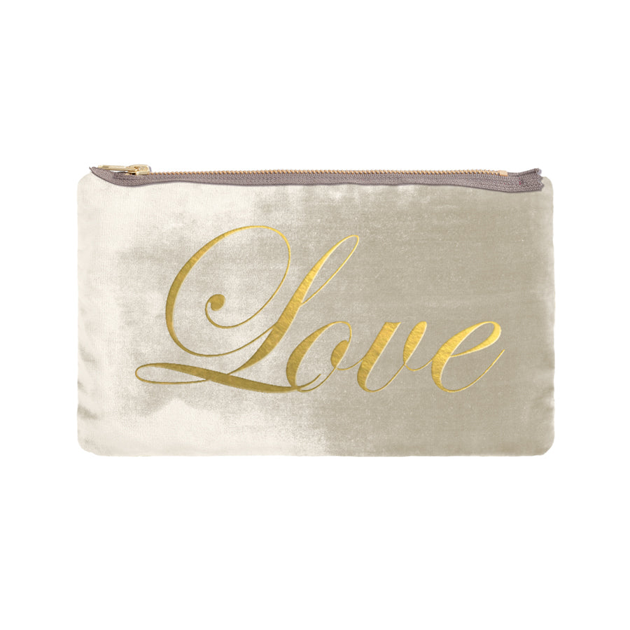 Love Script Pouch - cream / gold foil