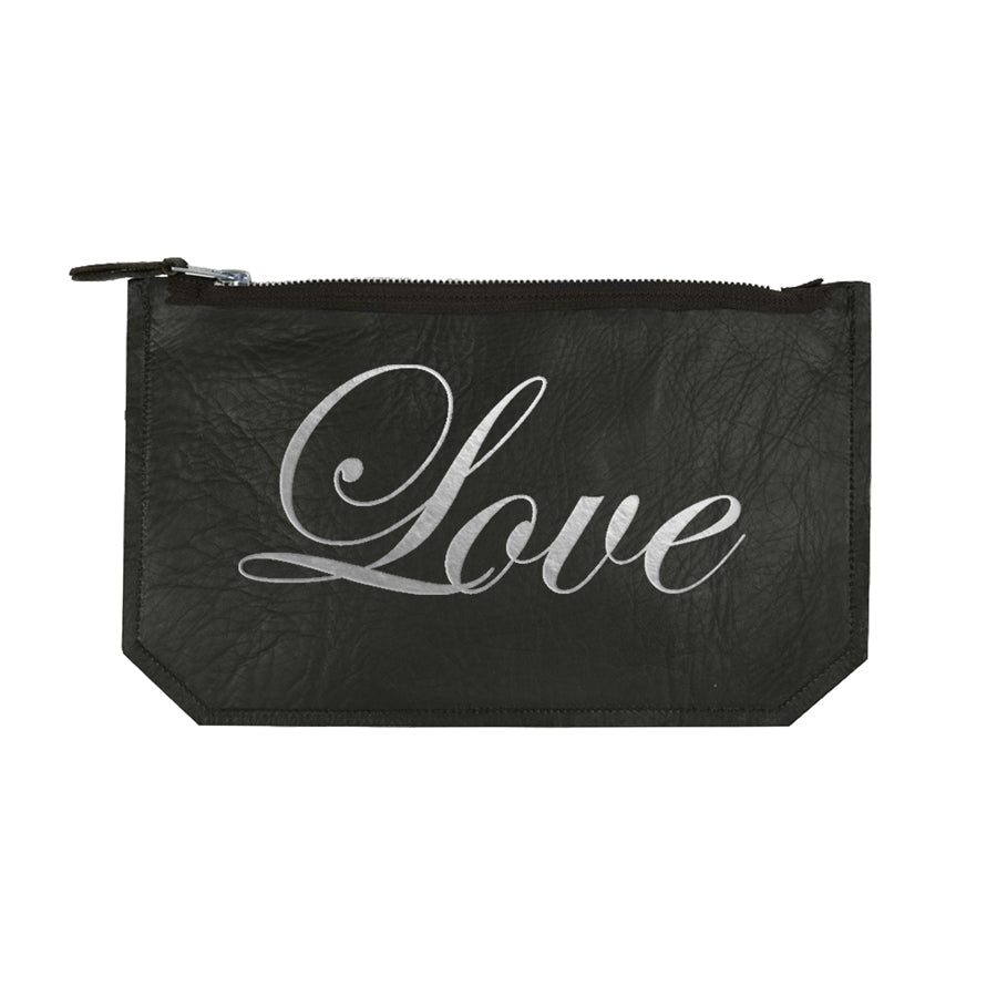 leather love script pouch