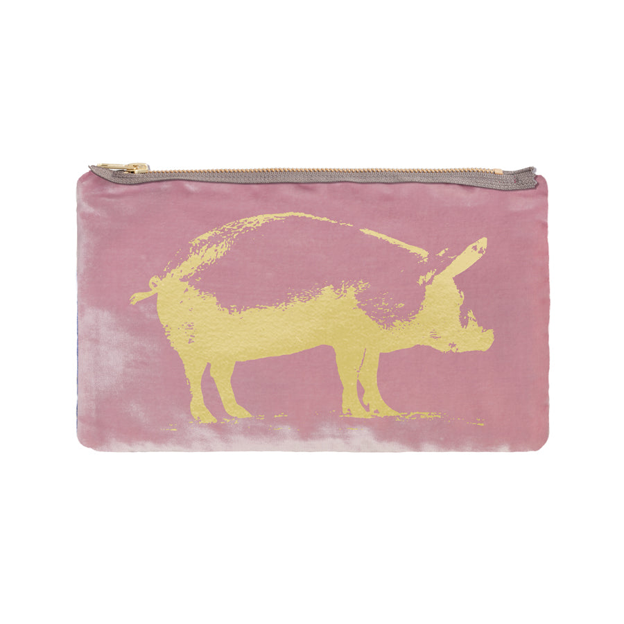 Pig Pouch - antique pink / gold foil