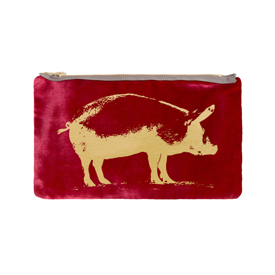 Pig Pouch - persimmon / gold foil