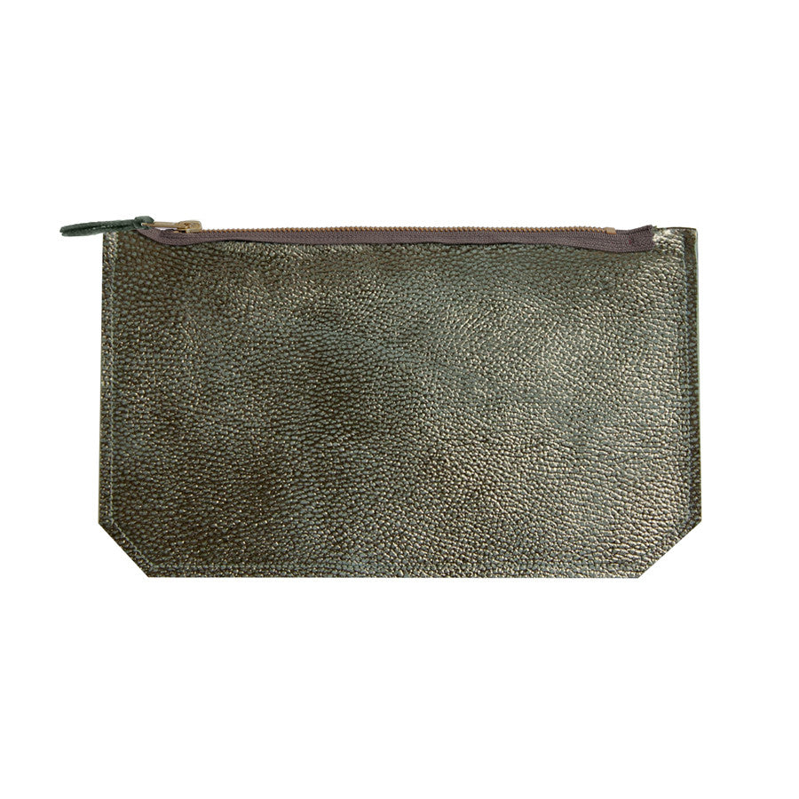 leather skin print pouch