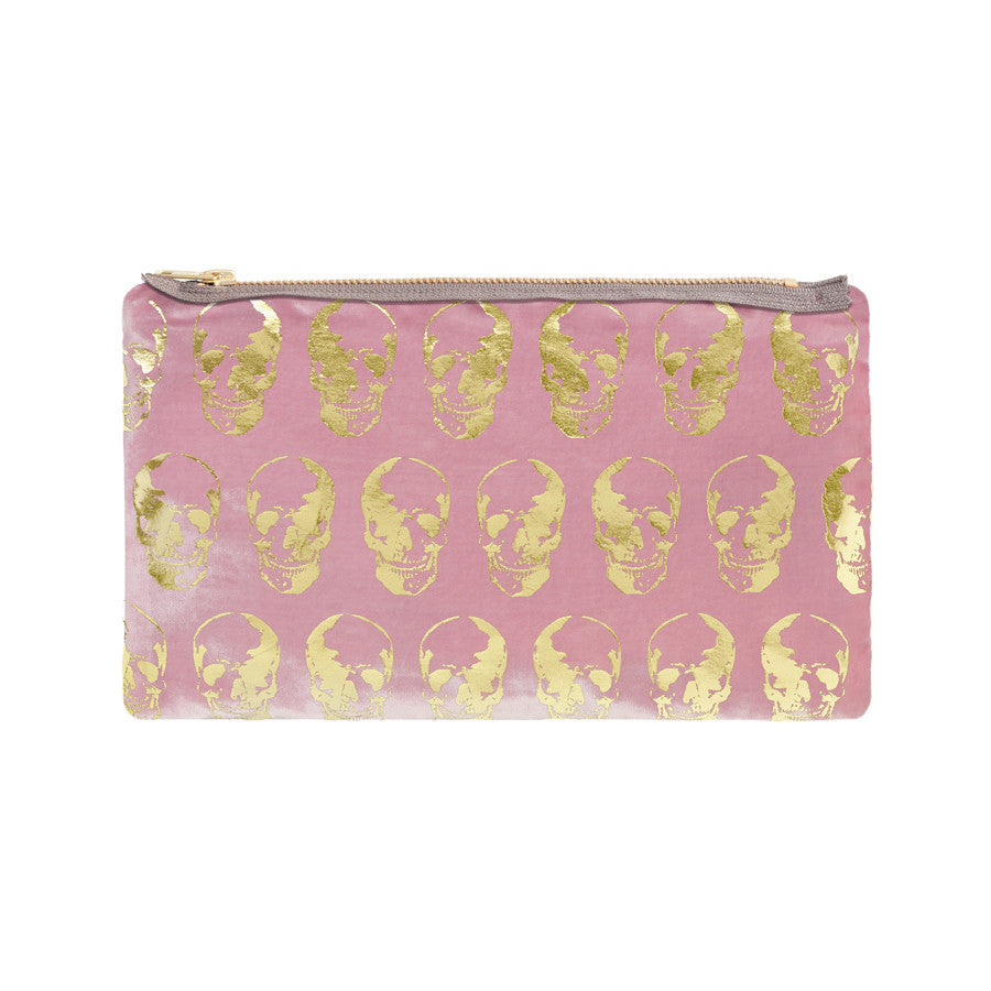 skull print pouch - antique pink / gold foil