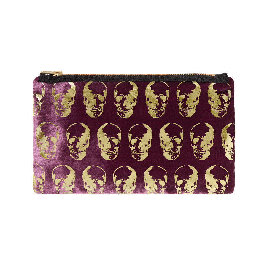 skull print pouch - berry / gold foil