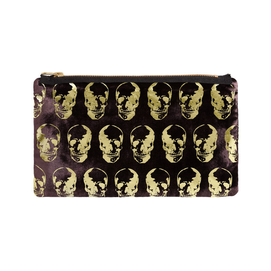 skull print pouch - chocolate / gold foil