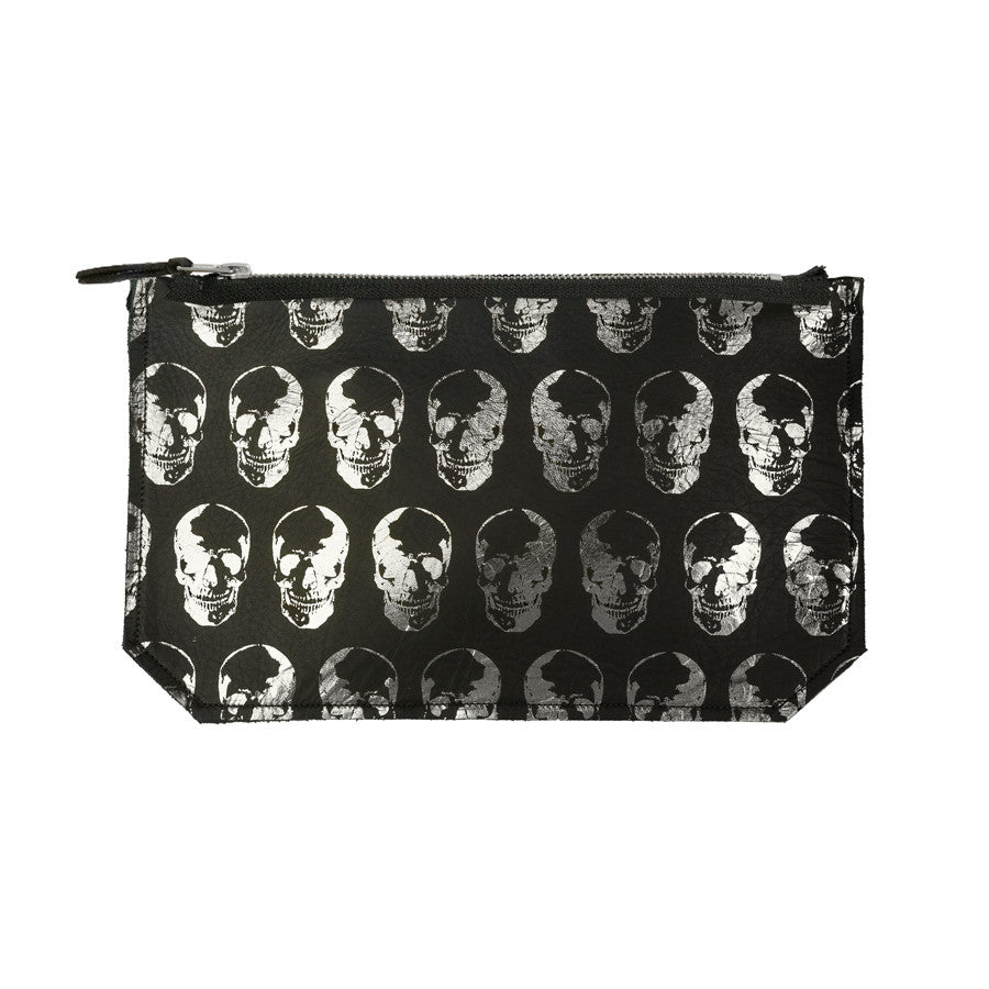 leather skull print pouch