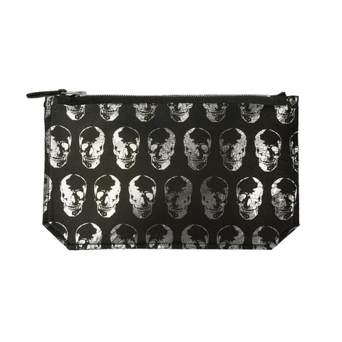 leather skull print clutch
