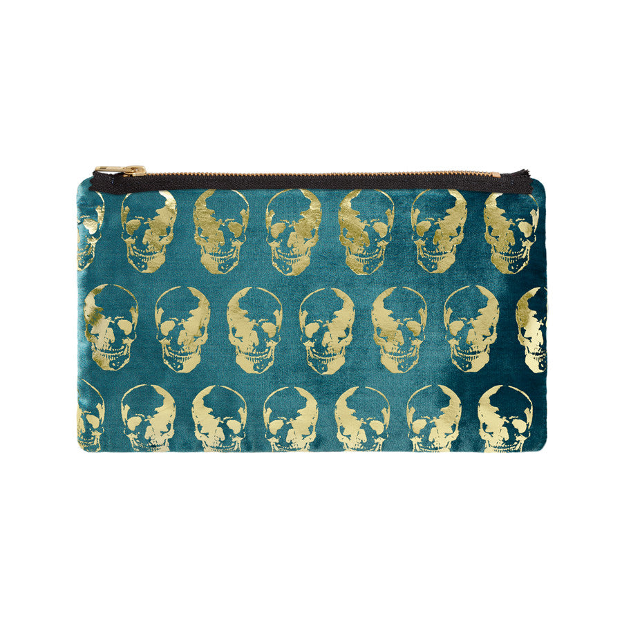 skull print pouch - teal / gold foil