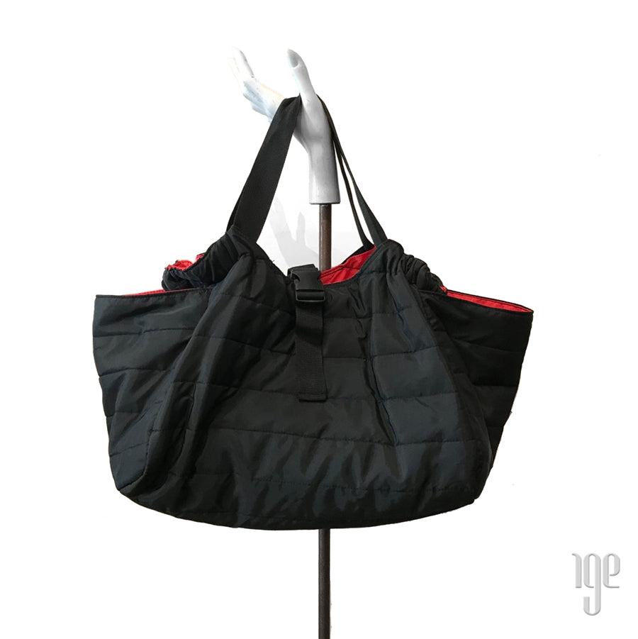 Quilted Carry All Tote | Black • Red