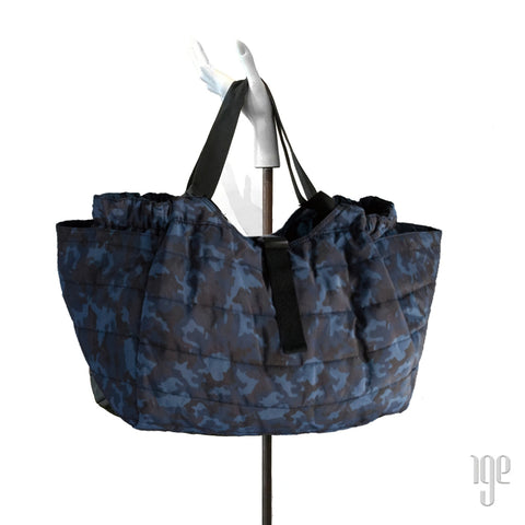 Quilted Carry All Tote | Camo Blue • Black