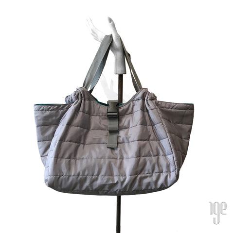 Quilted Carry All Tote | Gray • Aqua