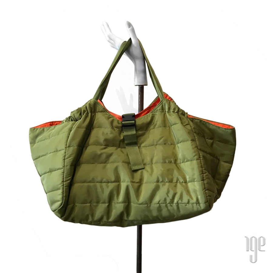 Quilted Carry All Tote | Khaki • Orange