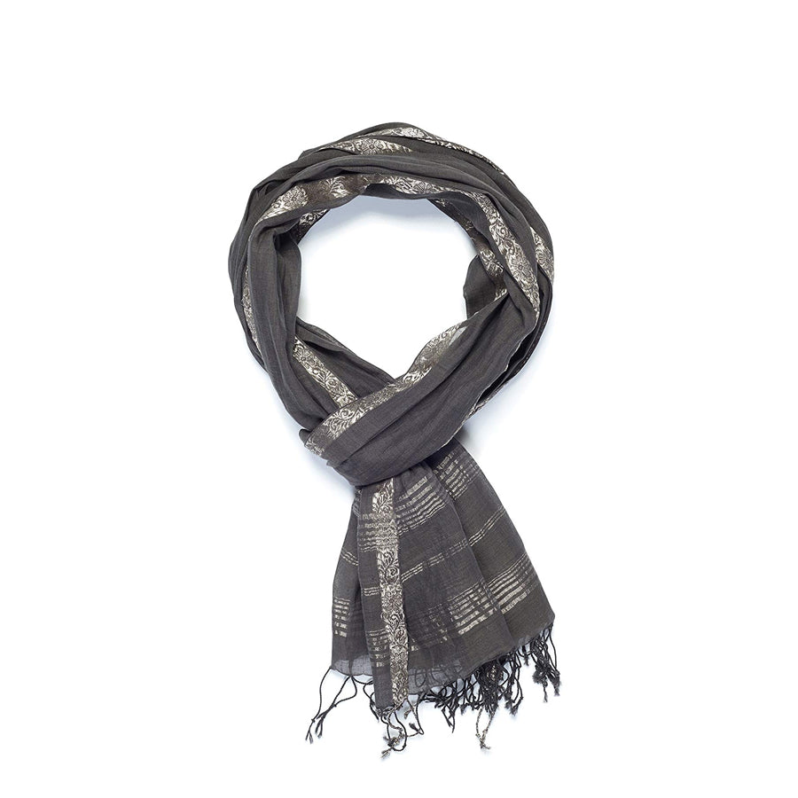 Jacquard Royal Vine Scarf | Grey