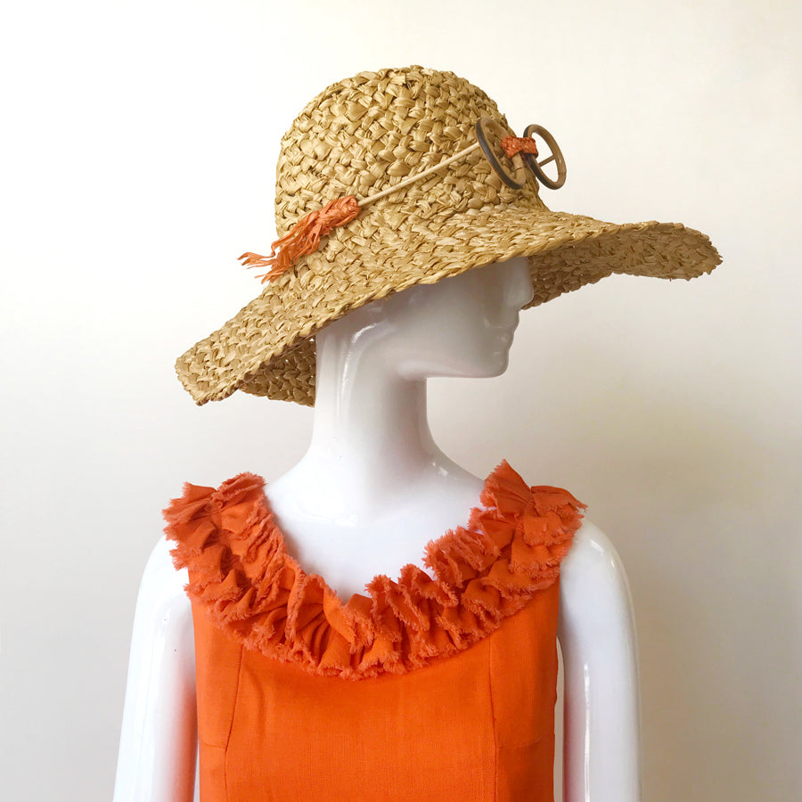 60s Whimsical Raffia Hat with Faux Bamboo Glasses