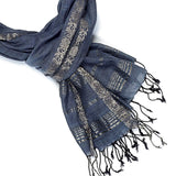 Jacquard Royal Vine Scarf | Navy