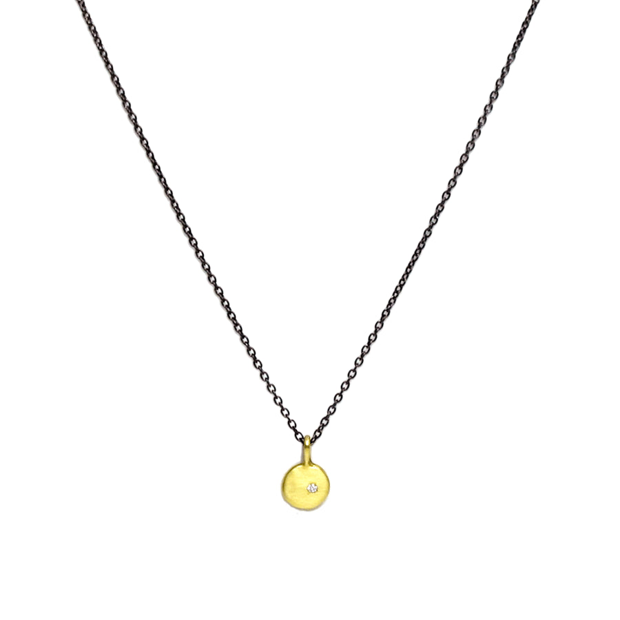 Small Diamond and Gold Button Necklace