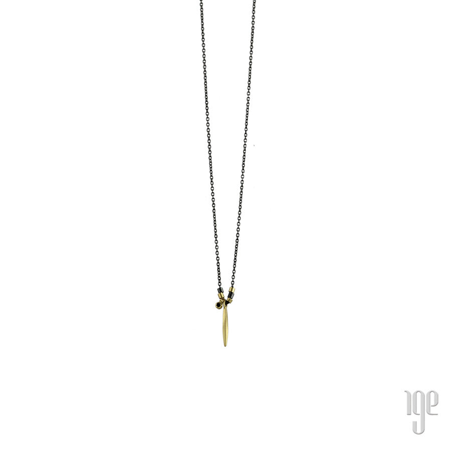 Two Tone Bead with Gold Icicle & Diamond Dangle