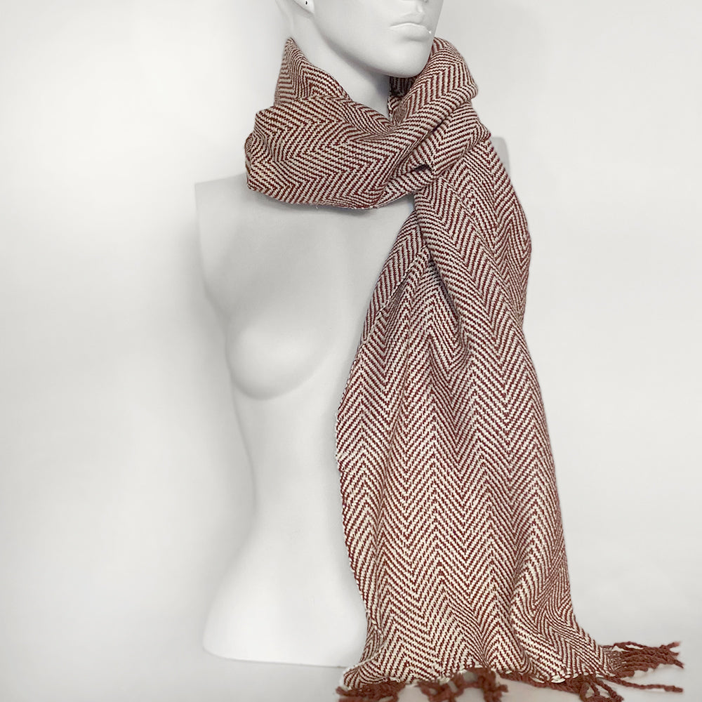 Silk Herringbone Scarf | Rust