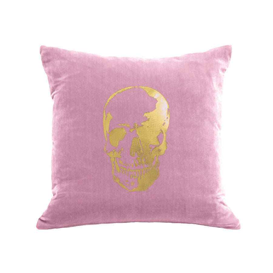 Skull Pillow - antique pink / gold foil