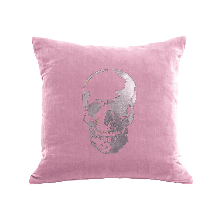 Skull Pillow - antique pink / gunmetal foil