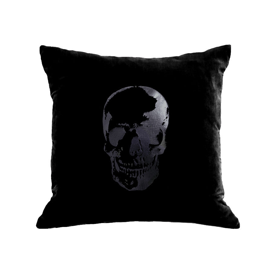 Skull Pillow - black / black foil