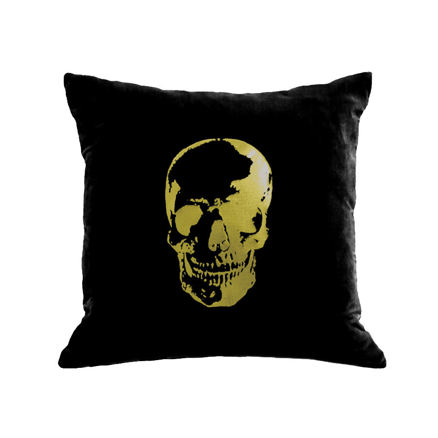 Skull Pillow - black / gold foil