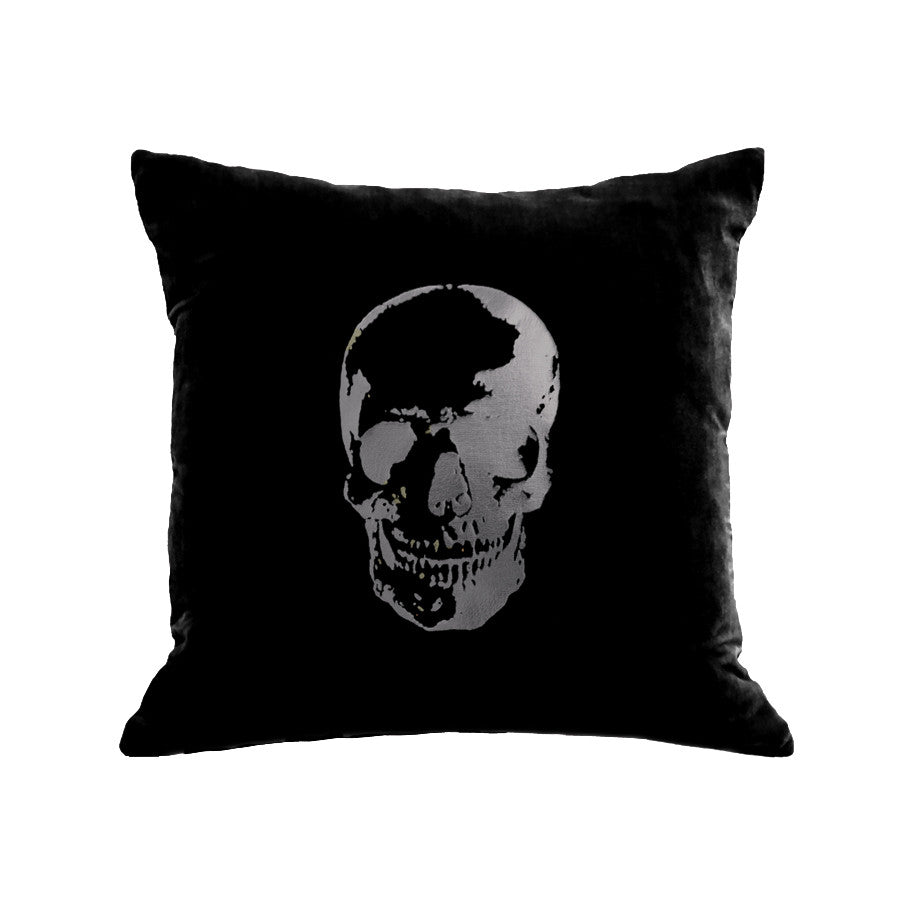 Skull Pillow - black / gunmetal foil