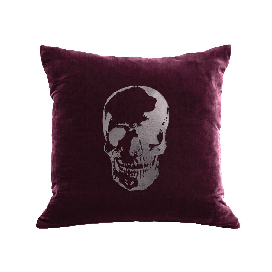 Skull Pillow - berry / gunmetal foil