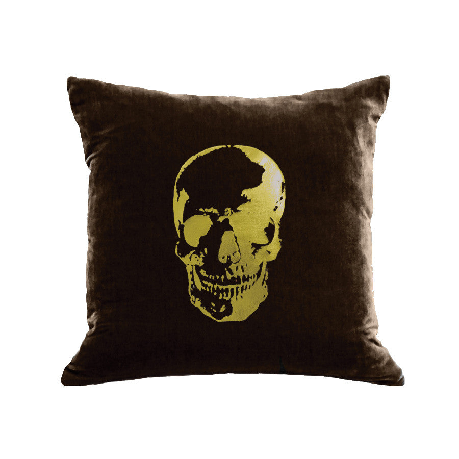 Skull Pillow - chocolate / gold foil