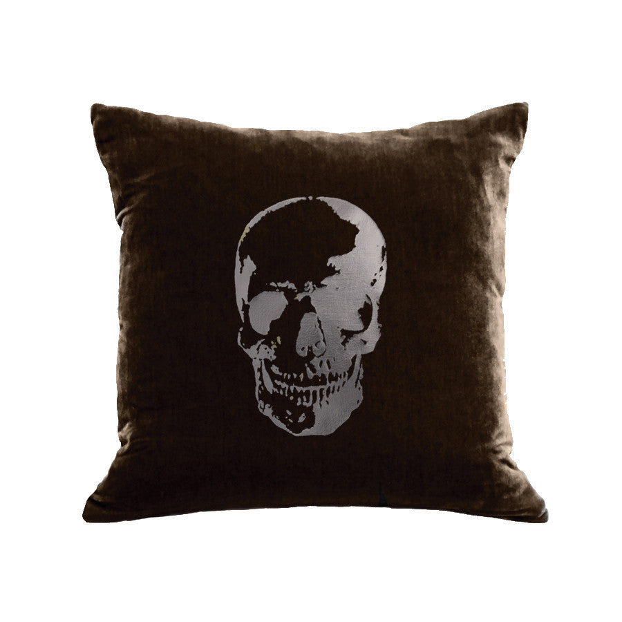 Skull Pillow - chocolate / gunmetal foil