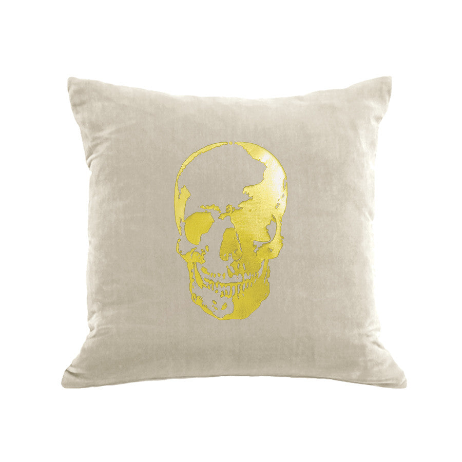 Skull Pillow - cream / gold foil