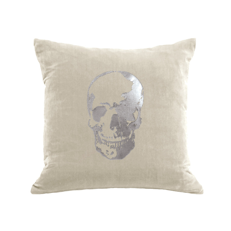Skull Pillow - cream / gunmetal foil