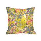Skull Pillow - dark floral / gold foil