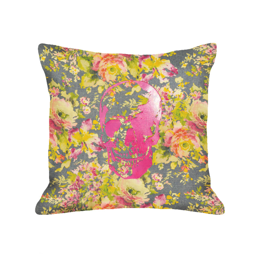 Skull Pillow - dark floral / hot pink foil