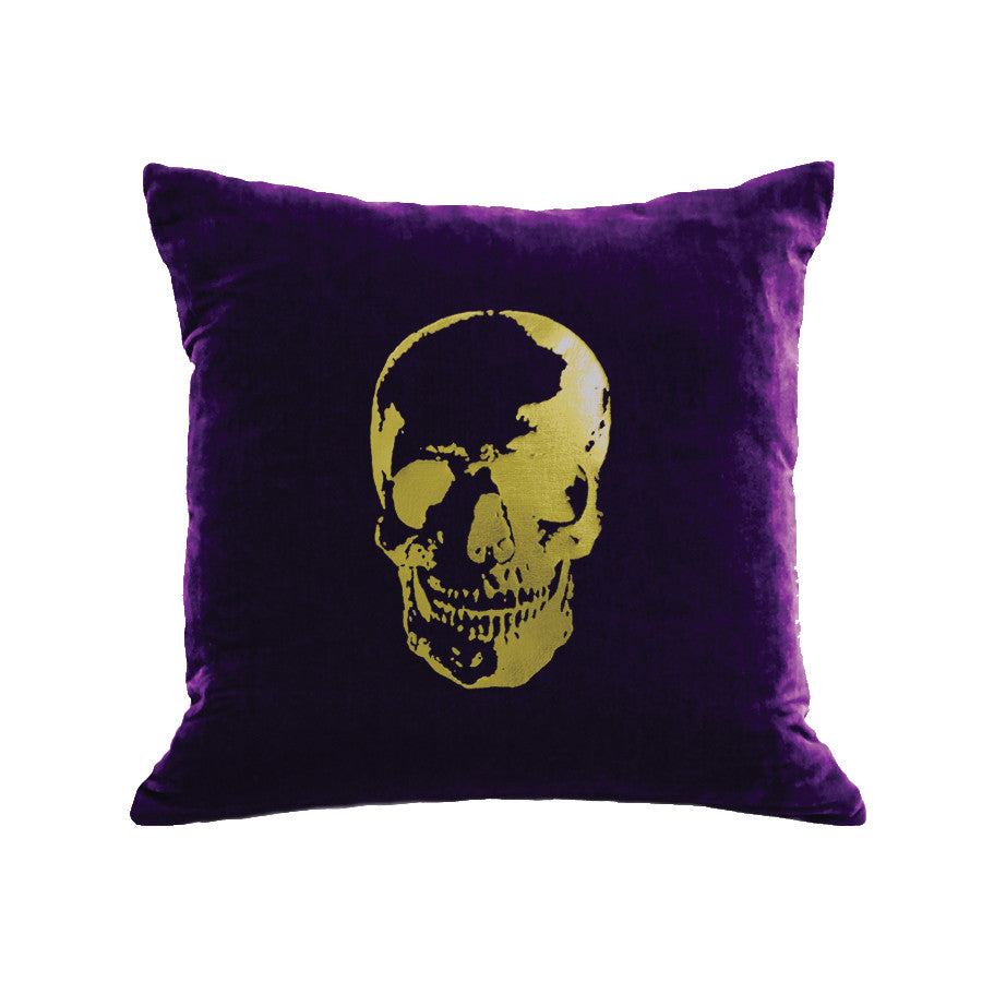 Skull Pillow - grape / gold foil