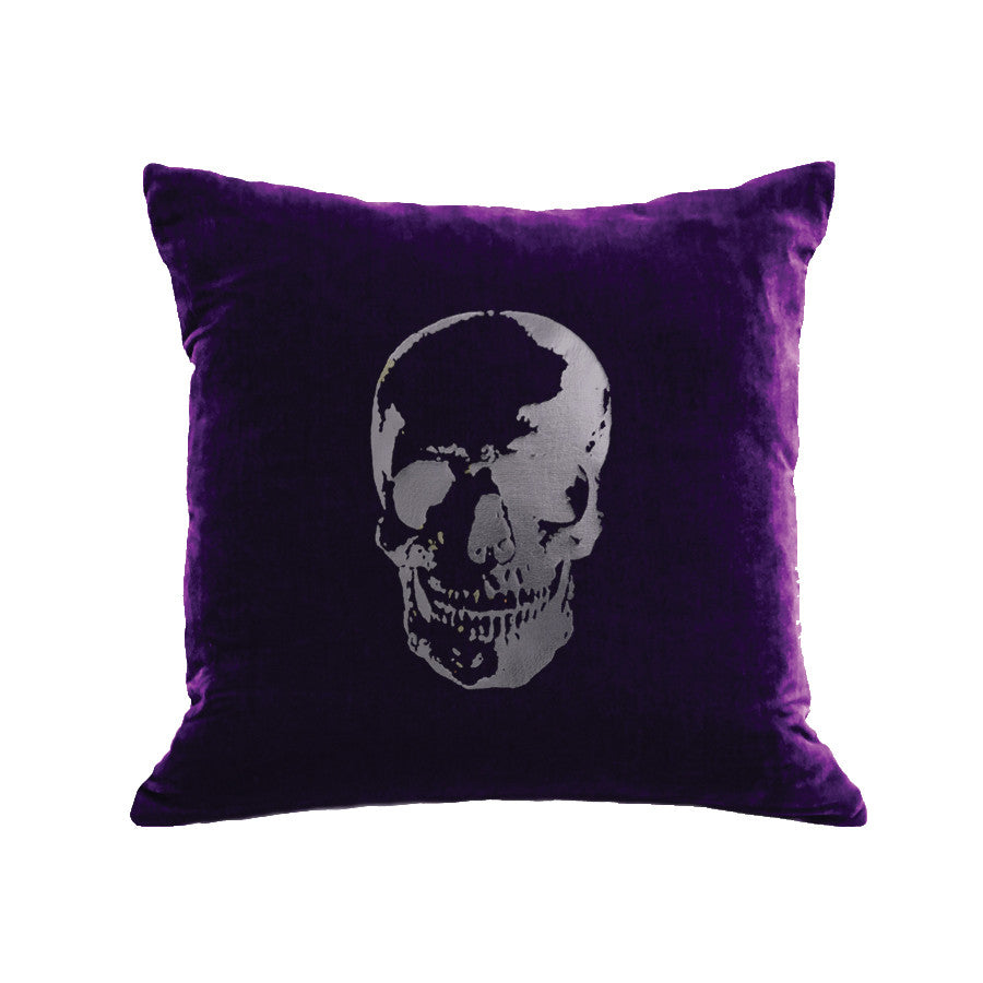 Skull Pillow - grape / gunmetal foil