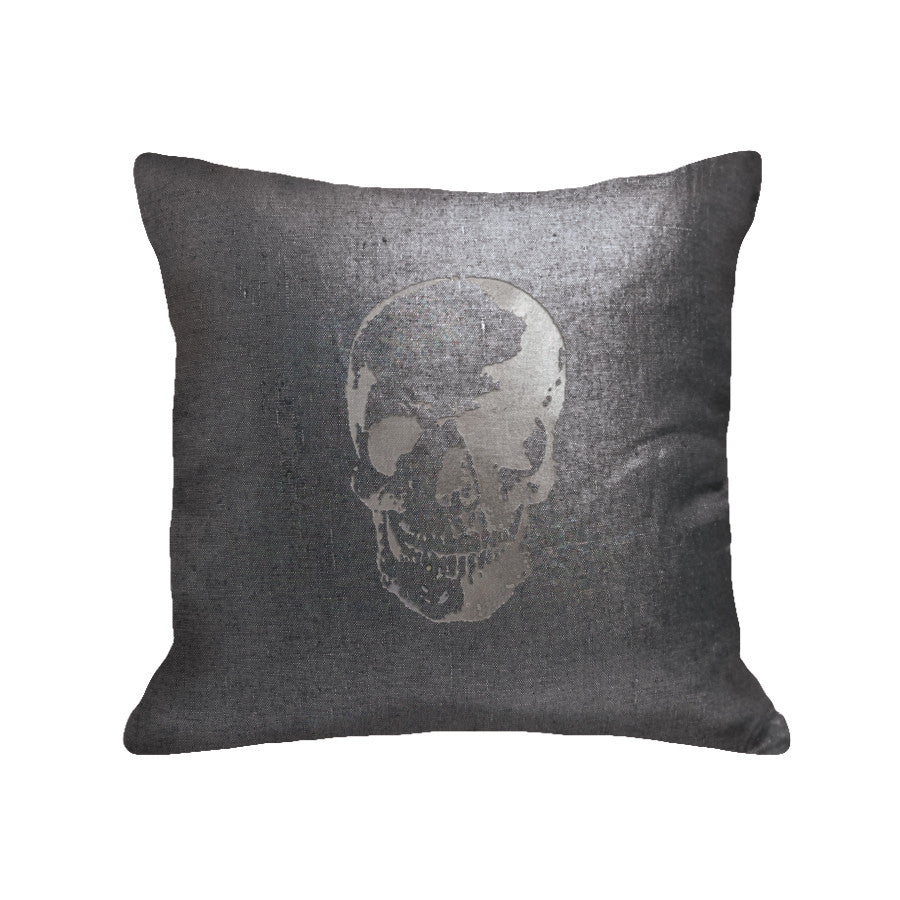 Skull Pillow - linen black / gunmetal foil