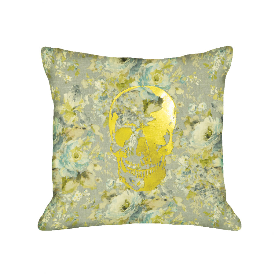Skull Pillow - light floral / gold foil