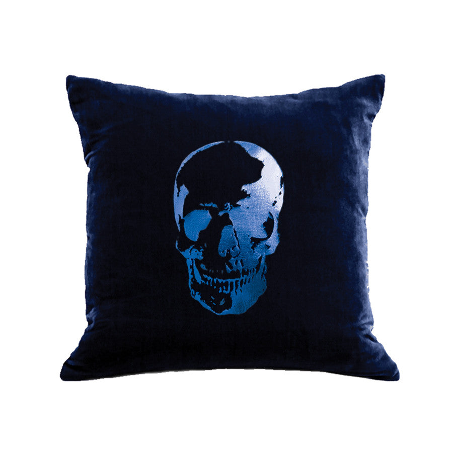 Skull Pillow - navy / blue foil