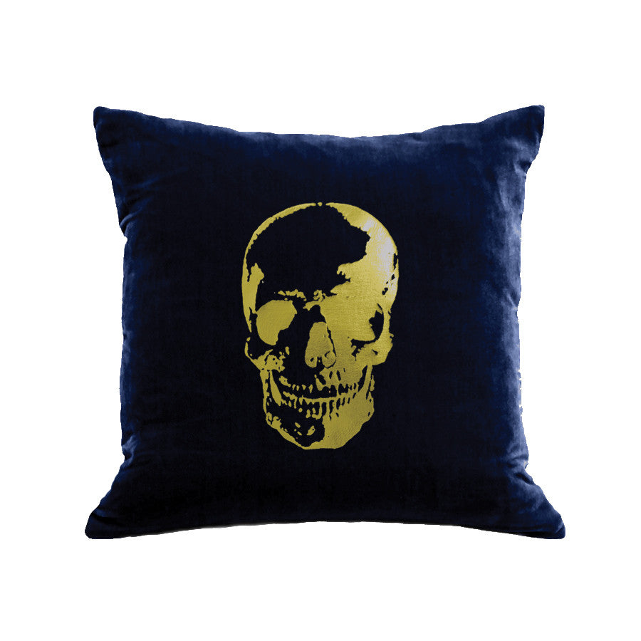 Skull Pillow - navy / gold foil
